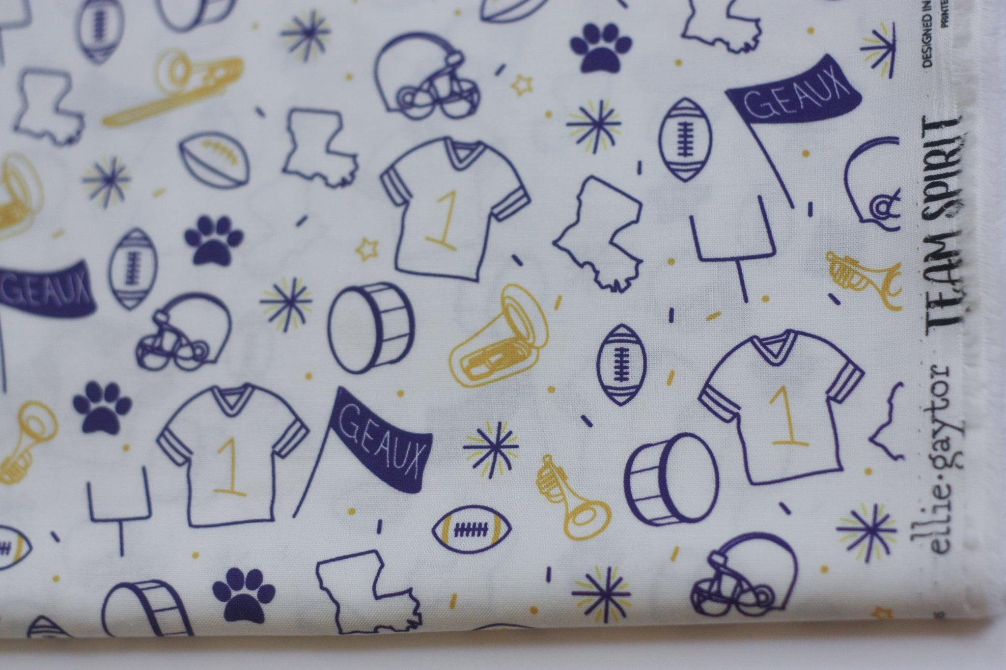 *Pre-Sale* Fabric: Team Spirit in White