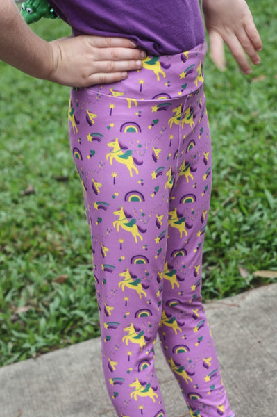 Mardi Gras Leggings: Krewe of Unicorns