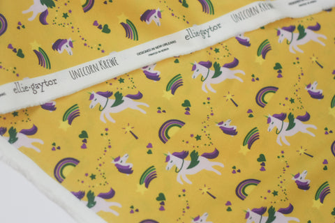 Fabric: Mardi Gras Krewe of Unicorns (Yellow) | 100% Cotton Woven
