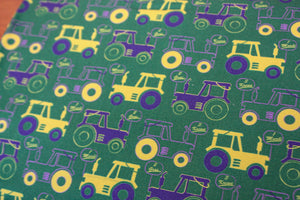 Fabric: Mardi Gras Tractors (Green) | 100% Cotton Woven