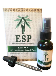 ESP Balance CBD from Hemp Natural Flavor with spray and dropper attachments