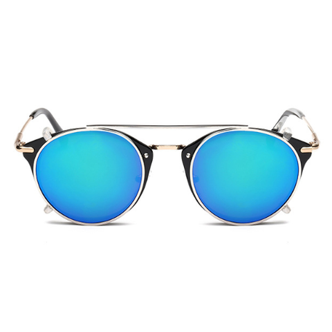 The Gotham Thin in Black Frames and Blue Lenses