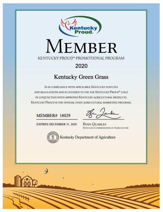 Kentucky Green Grass is a Kentucky Proud Member