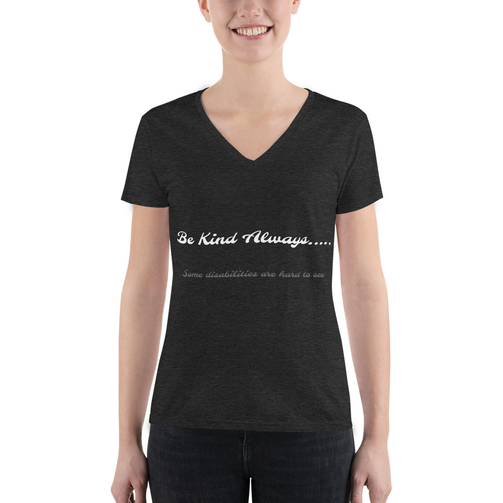 Be Kind Always...Disabilities Women's Fashion Deep V-neck Tee