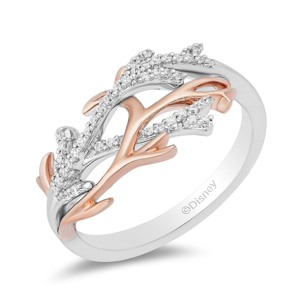 Enchanted Disney Fine Jewelry 9ct Rose Gold and Sterling Silver Ariel Coral Ring with 1/10cttw Diamonds Rings Enchanted Disney Fine Jewelry
