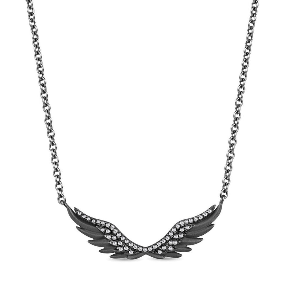 Enchanted Disney Fine Jewelry Black Rhodium over Sterling Silver Maleficent Wing Necklace with 1/5cttw Diamonds Necklaces Enchanted Disney Fine Jewelry