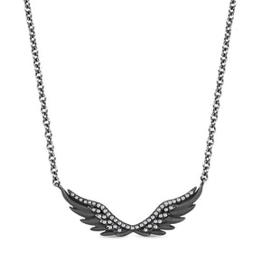 Enchanted Disney Fine Jewelry Black Rhodium over Sterling Silver Maleficent Wing Necklace with 1/5ct Diamonds TDW