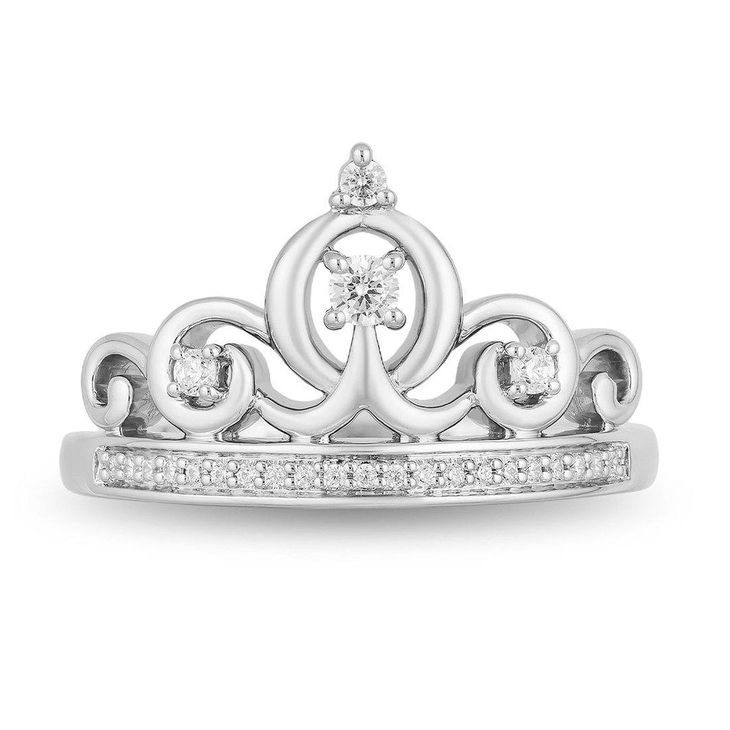 Enchanted Disney Fine Jewelry Sterling Silver Cinderella Tiara Ring with 1/6cttw Diamonds Rings Enchanted Disney Fine Jewelry