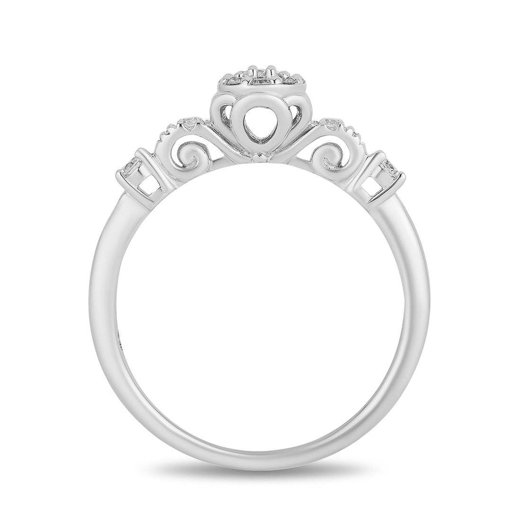Enchanted Disney Fine Jewelry 9ct White Gold Cinderella Engagement Ring with 1/4cttw Diamonds Rings Enchanted Disney Fine Jewelry