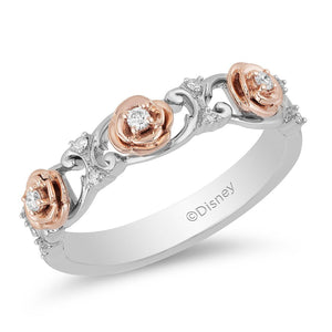 Enchanted Disney Fine Jewelry 9ct Rose Gold and Sterling Silver Belle Rose Band with 1/10ct Diamonds TDW