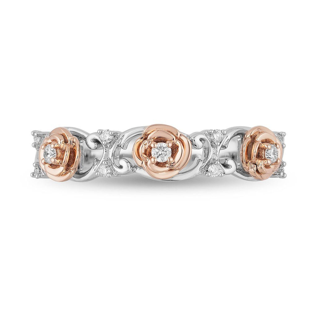 Enchanted Disney Fine Jewelry 9ct Rose Gold and Sterling Silver Belle Rose Band with 1/10cttw Diamonds Rings Enchanted Disney Fine Jewelry