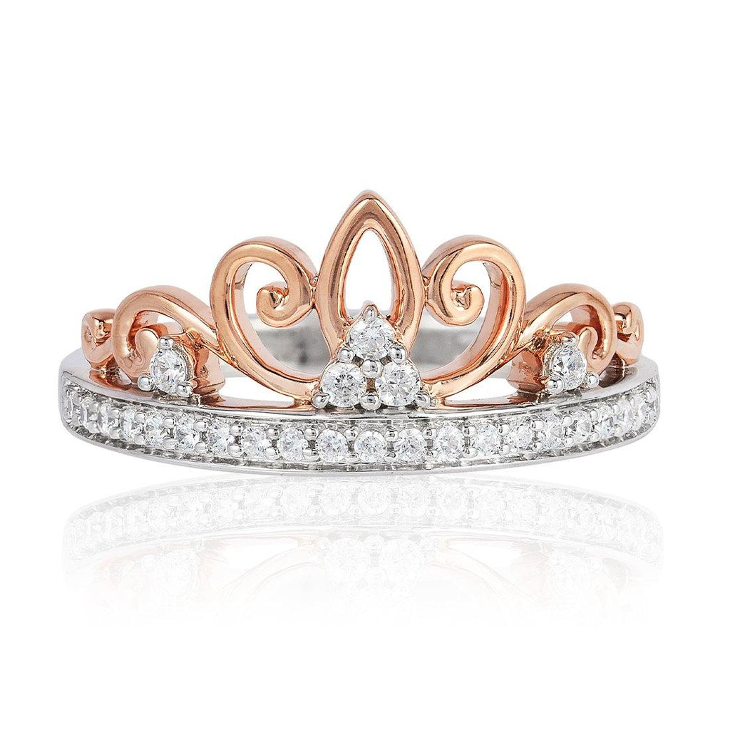 Enchanted Disney Fine Jewelry 9ct Rose Gold and Sterling Silver Majestic Princess Crown Ring with 1/5cttw Diamonds Rings Enchanted Disney Fine Jewelry