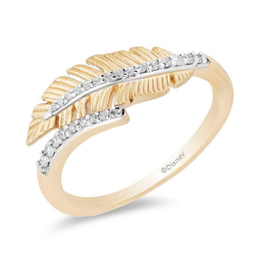 Enchanted Disney Fine Jewelry 9ct Yellow Gold Pocahontas Feather Ring with 1/10ct Diamonds TDW