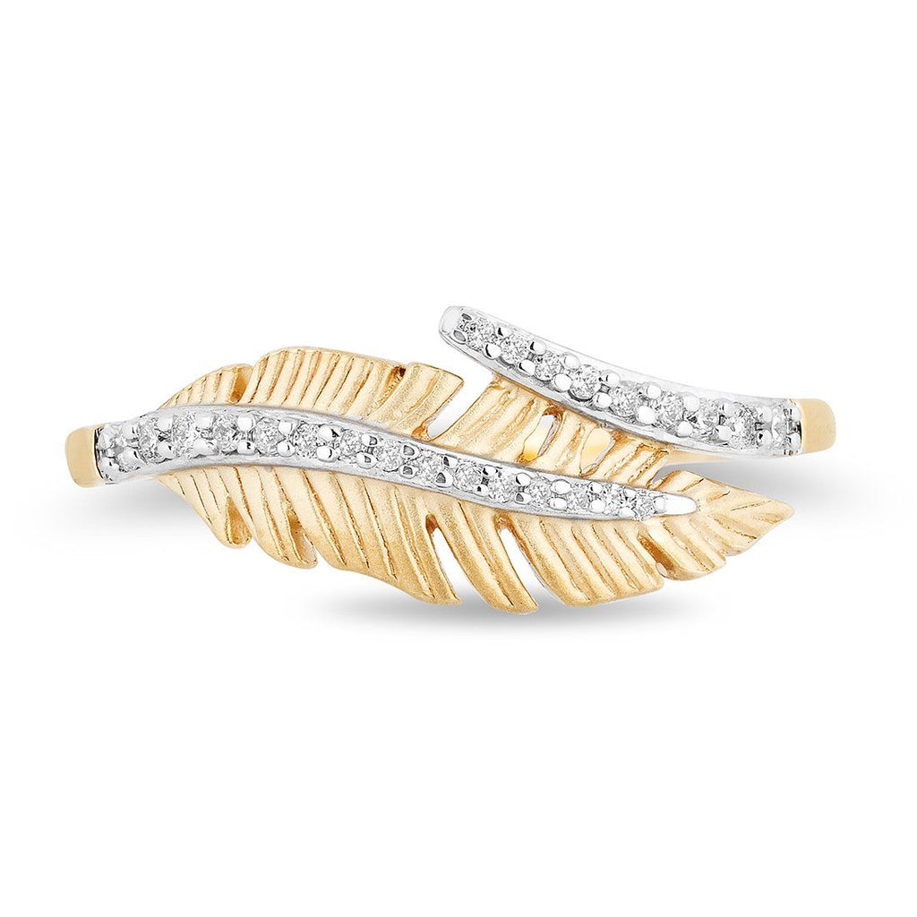 Enchanted Disney Fine Jewelry 9ct Yellow Gold Pocahontas Feather Ring with 1/10cttw Diamonds Rings Enchanted Disney Fine Jewelry