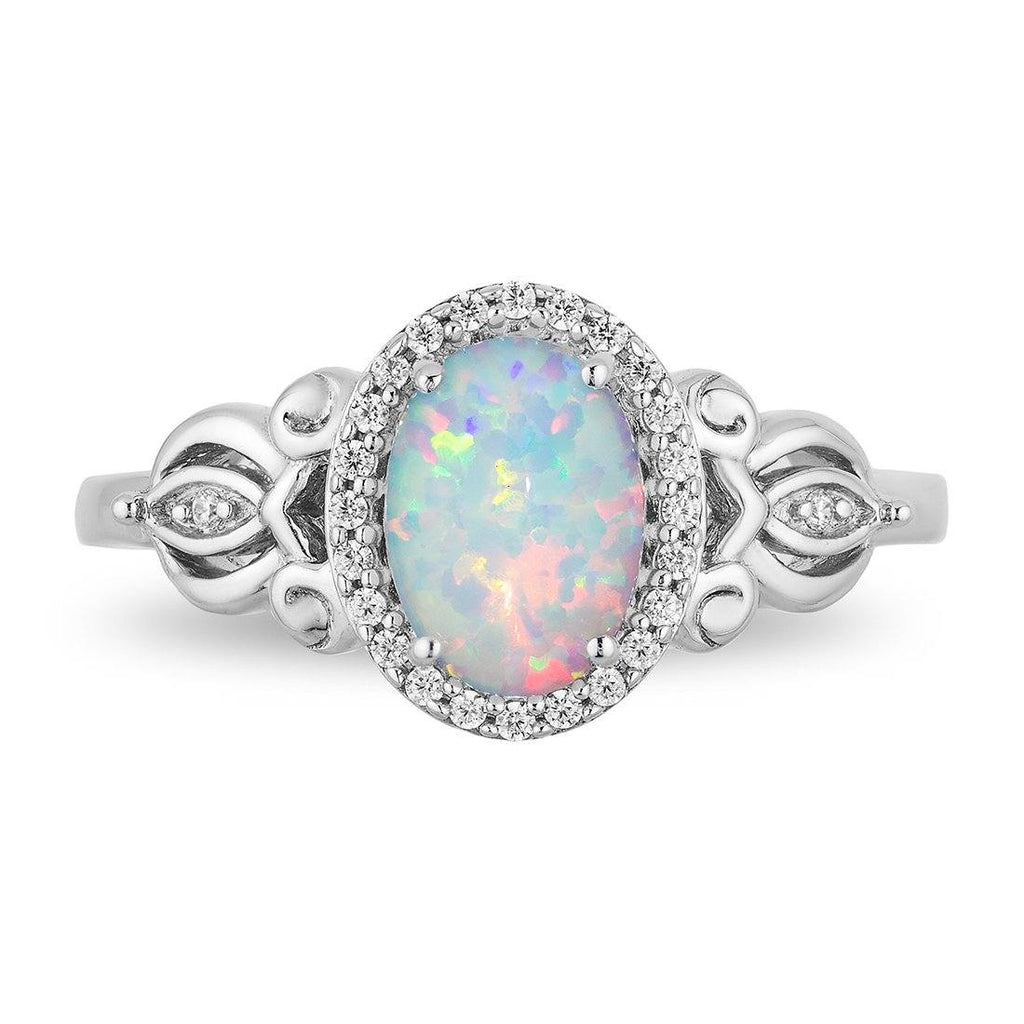 Enchanted Disney Fine Jewelry Sterling Silver Cinderella Fashion Ring with 1/10cttw Diamonds and Fire Opal Rings Enchanted Disney Fine Jewelry