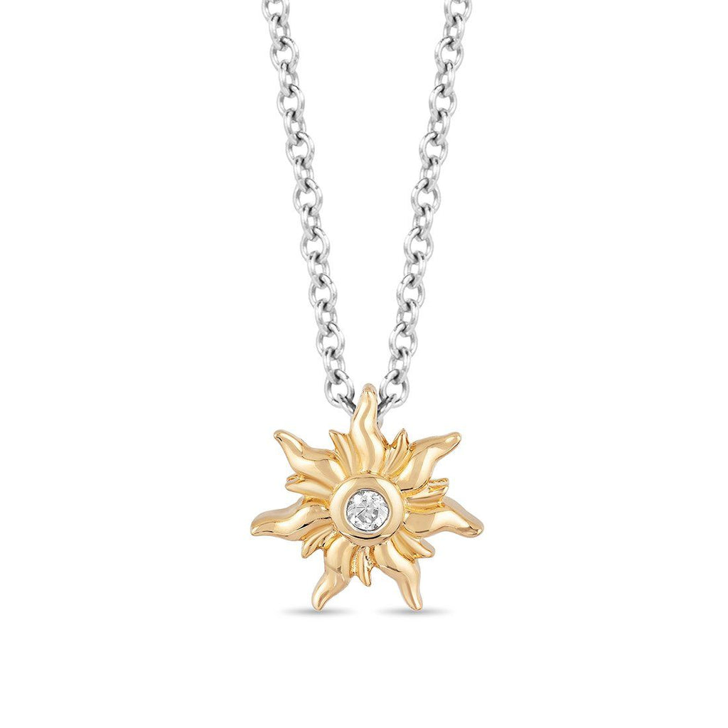 Enchanted Disney Fine Jewelry 9ct Yellow Gold Rapunzel Sun Pendant with Diamonds Necklaces Enchanted Disney Fine Jewelry