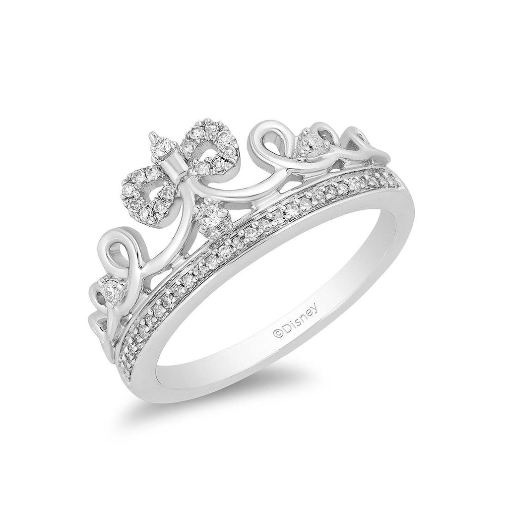 Enchanted Disney Fine Jewelry Sterling Silver Snow White Tiara Ring with 1/6cttw Diamonds Rings Enchanted Disney Fine Jewelry