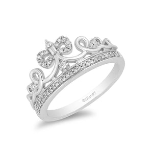 Enchanted Disney Fine Jewelry Sterling Silver Snow White Tiara Ring with 1/6ct Diamonds TDW