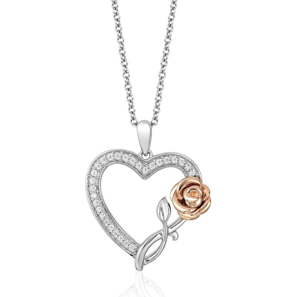 Enchanted Disney Fine Jewelry 9ct Rose Gold and Sterling Silver Belle Heart Shape Rose Pendant with 1/5cttw Diamonds Necklaces Enchanted Disney Fine Jewelry