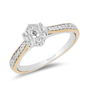 Enchanted Disney Fine Jewelry 9ct White and Yellow Gold Belle Engagement Ring with 1/3ct Diamonds TDW