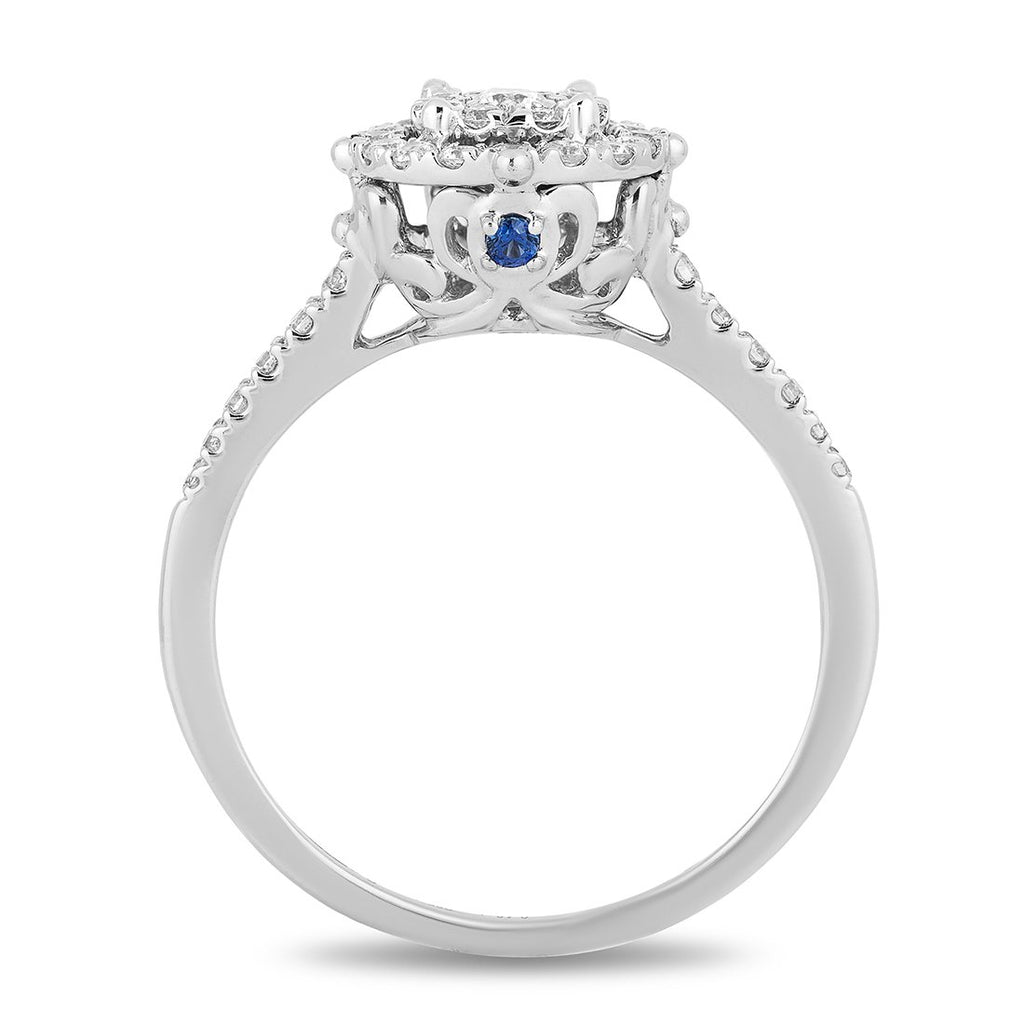 Enchanted Disney Fine Jewelry 9ct White Gold Cinderella Engagement Ring with 3/8cttw Diamonds Rings Enchanted Disney Fine Jewelry