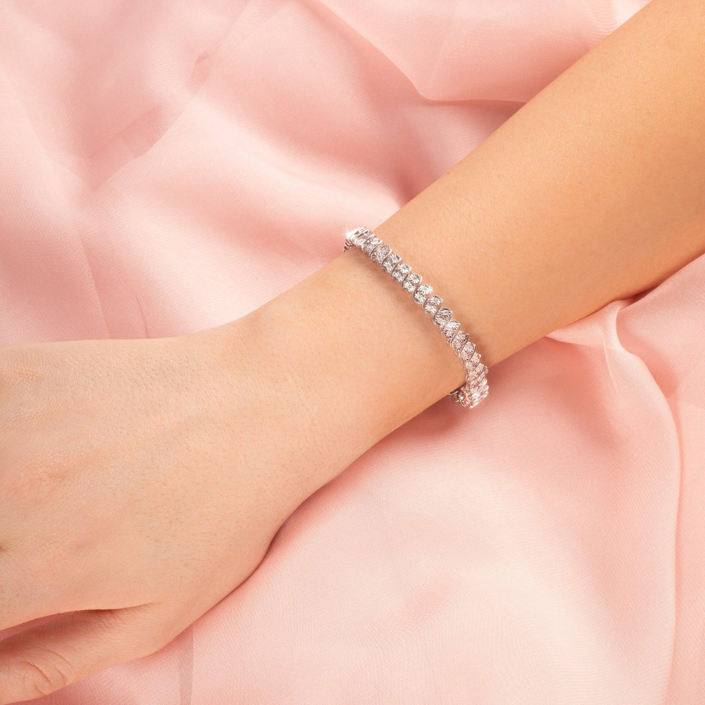 Brilliant Illusion Link Bracelet with 1/2ct of Diamonds in Sterling Silver Bracelets Bevilles