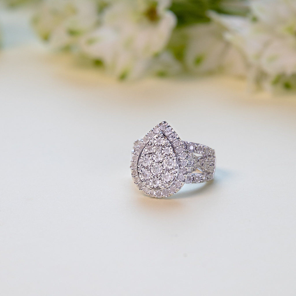 Brilliant Miracle Pear Ring with 1.00ct of Diamonds in Sterling Silver Rings Bevilles