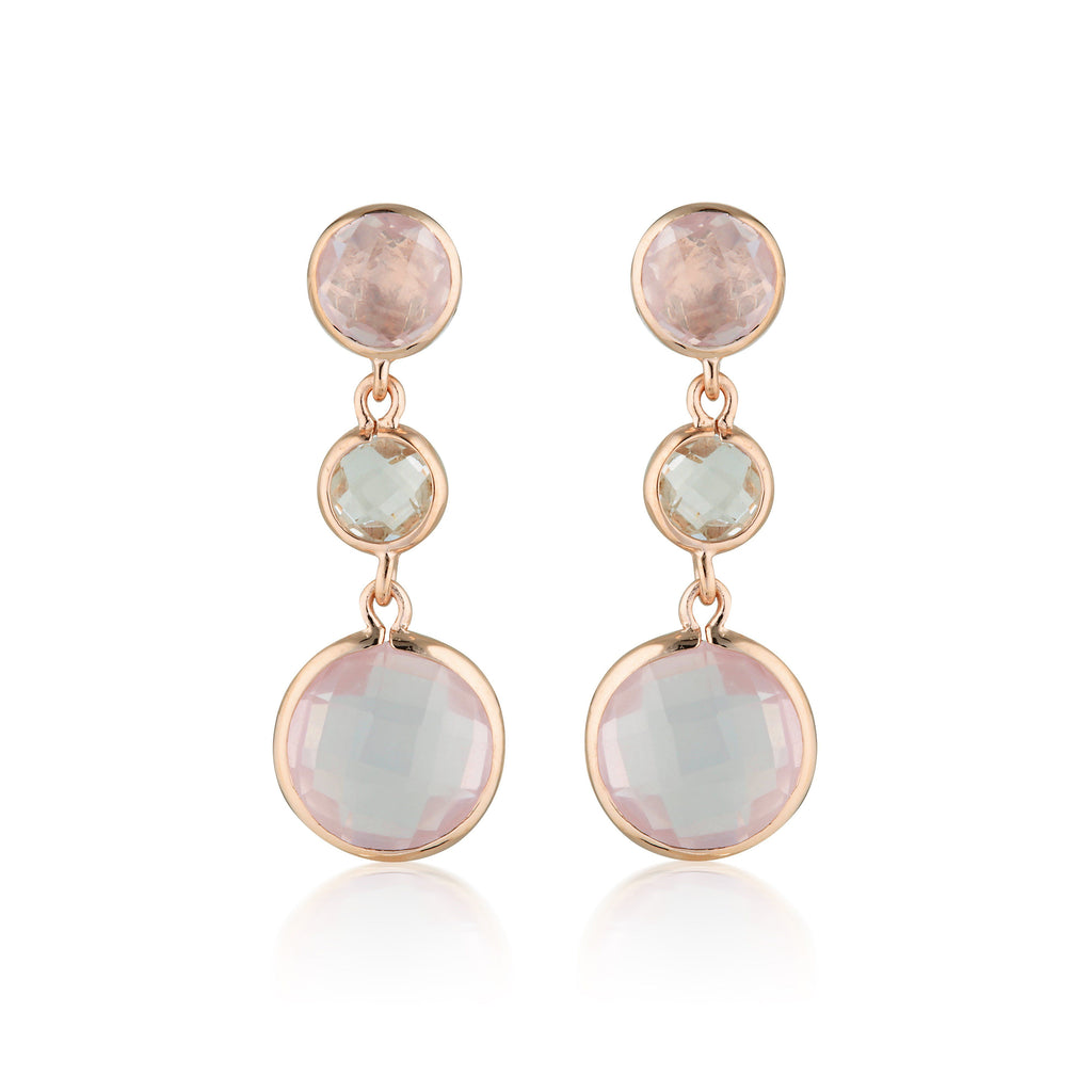 Georgini Diantha Rose Quartz Drop Earrings Bevilles Jewellers