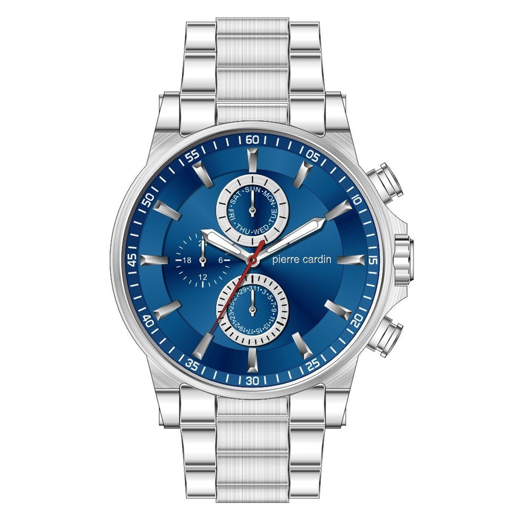 Pierre Cardin Blue Multi Dial Stainless Steel Mens Watch 5977