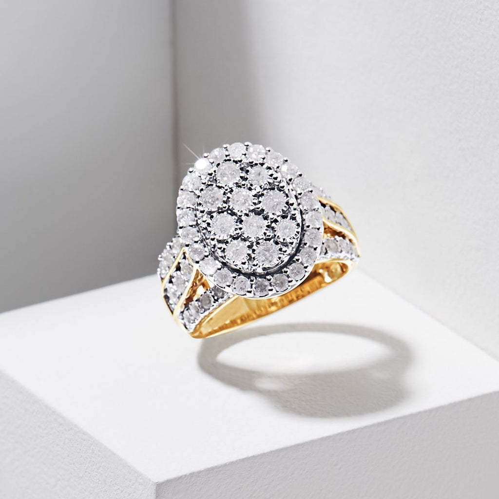 Oval Halo Ring with 2.00ct of Diamonds in 9ct Yellow Gold Rings Bevilles
