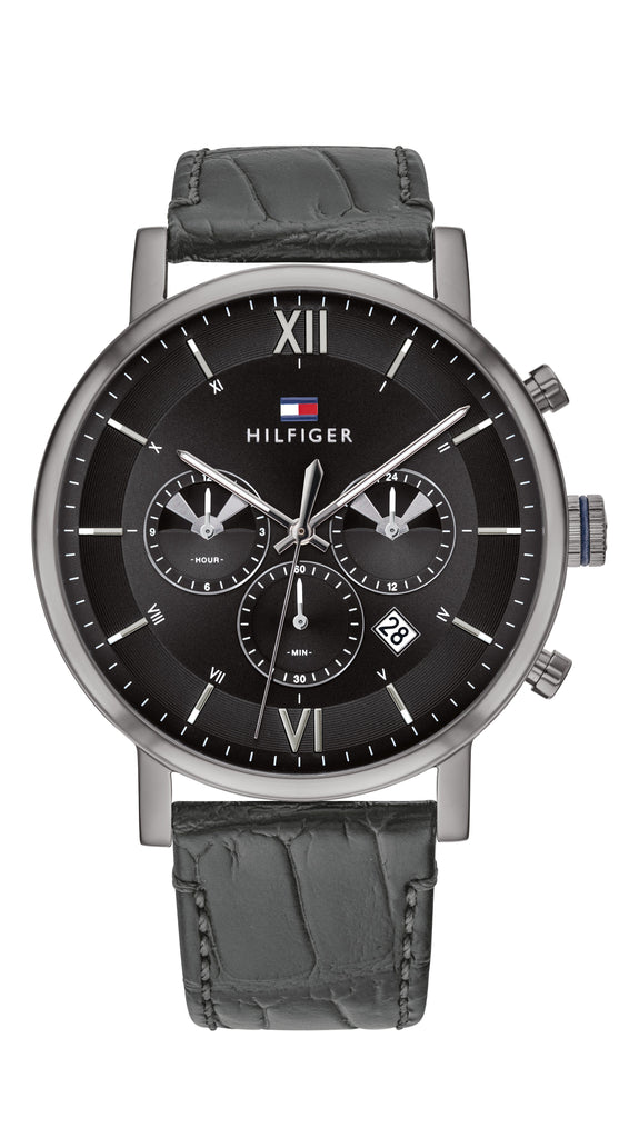 Tommy Hilfiger Black Leather Men's Multi-function Watch Watches Tommy Hilfiger