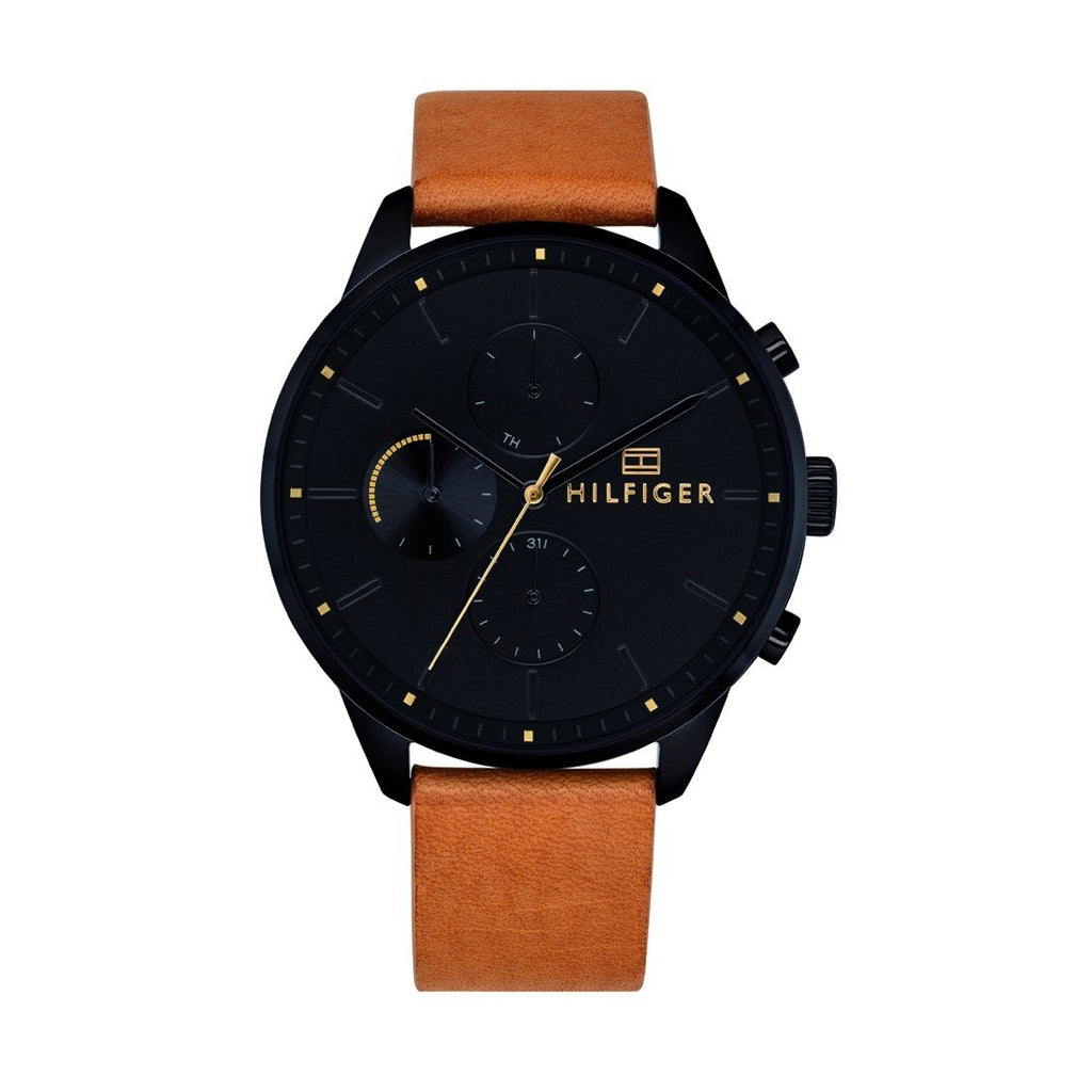 Tommy Hilfiger Men's Black Multifunction Tan Leather Watch 1791486 Watches Tommy Hilfiger