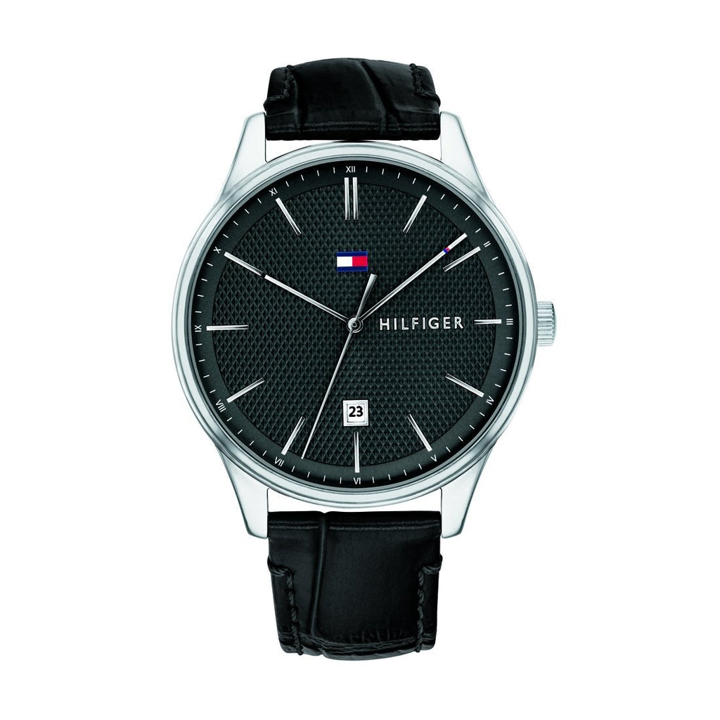 Tommy Hilfiger Men's Black Leather Watch Model 1791494 Watches Tommy Hilfiger