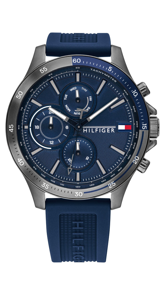Tommy Hilfiger Bank Blue Silicone Men's Multi-function Watch Watches Tommy Hilfiger
