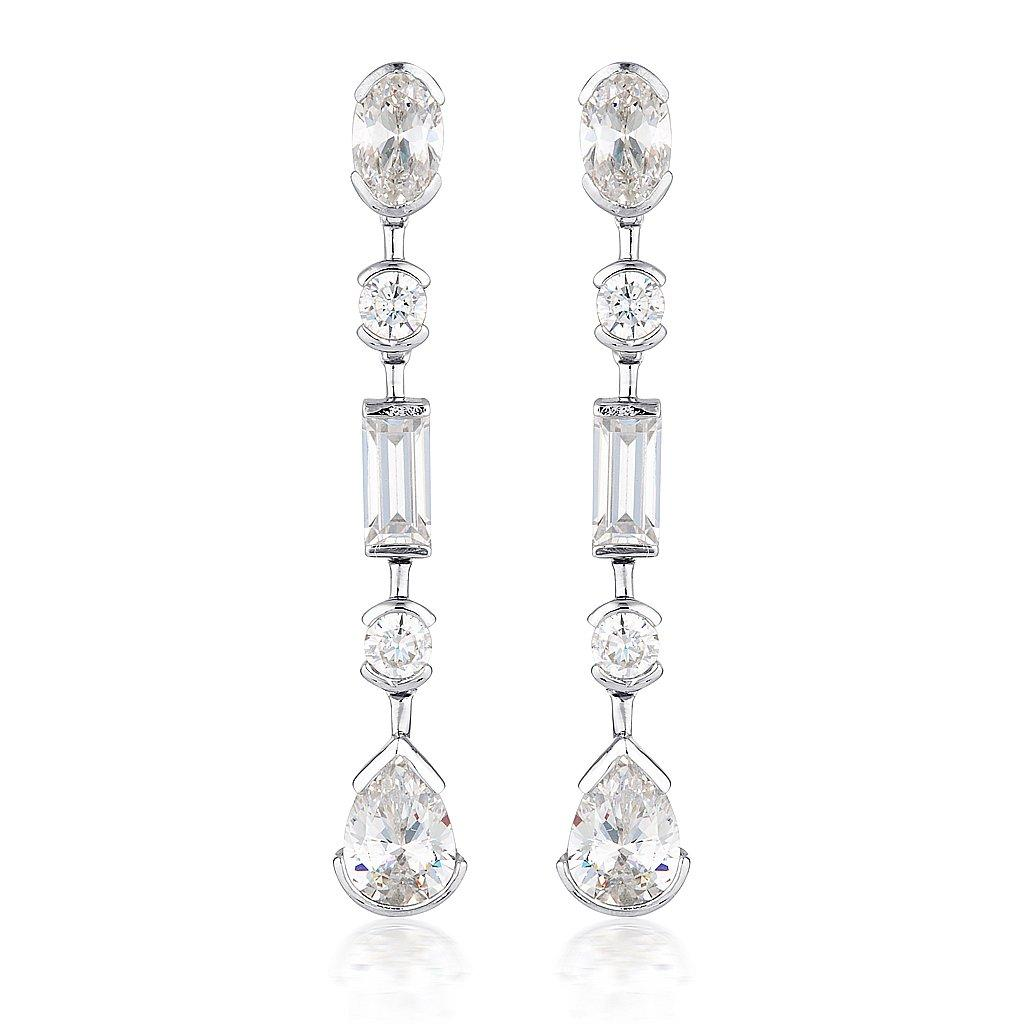 MOSAIC LONG DROP SILVER EARRINGS Bevilles Jewellers