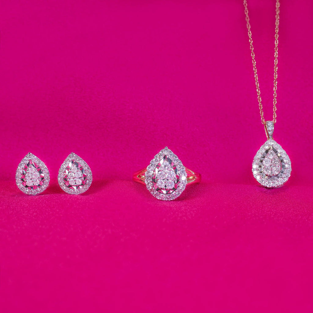 Brilliant Miracle Pear Halo Necklace with 1.00ct of Diamonds in 9ct Yellow Gold Necklaces Bevilles