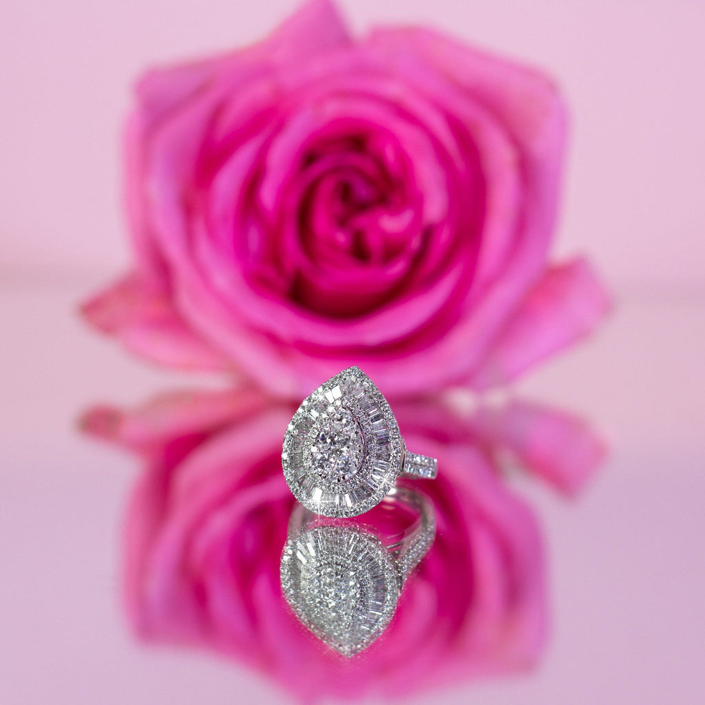 Brilliant Pear Cluster Ring with 2.00ct of Diamonds in 9ct White Gold