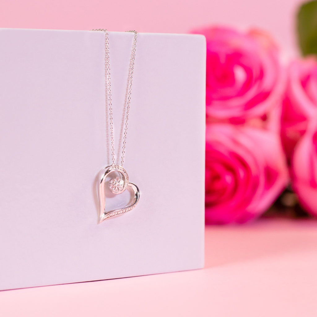 Diamond Heart Necklace in Sterling Silver Necklaces Bevilles