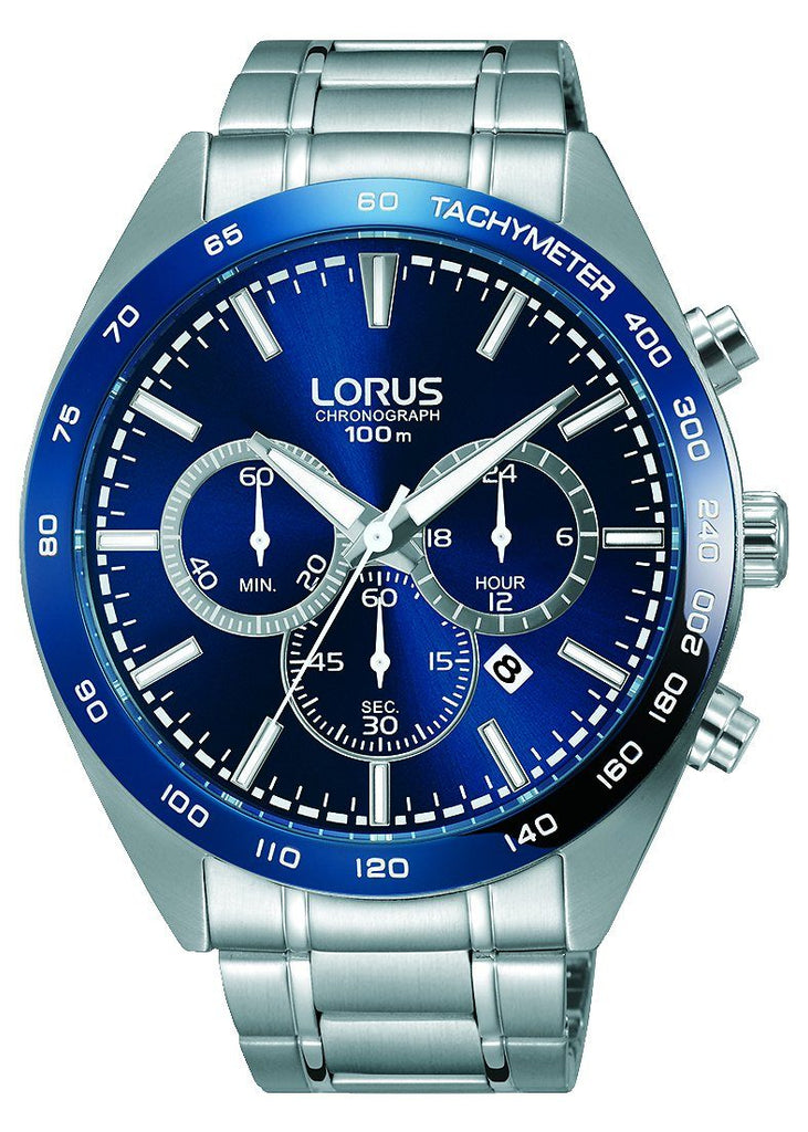 Lorus Men's Blue Face Chronograph Watch RT399FX-9 Watches Lorus