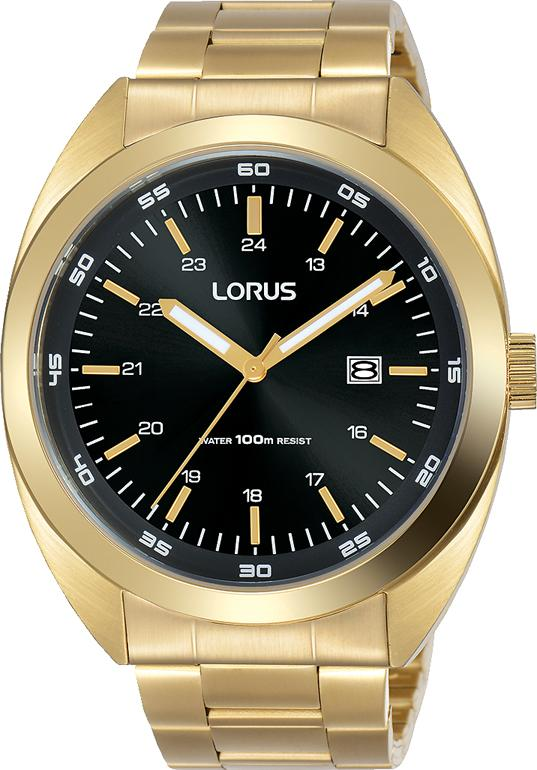 LORUS GENTS BLACK FACE GOLD CASE BAND Watches Lorus