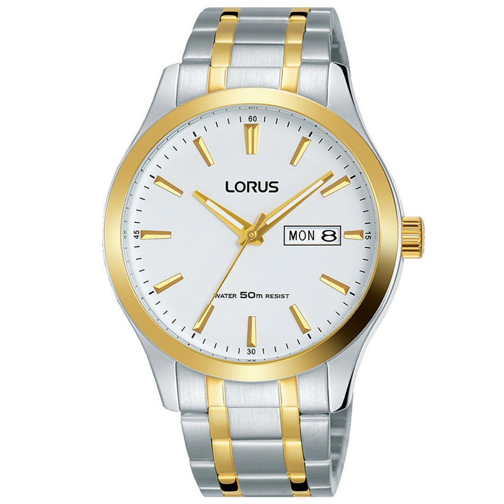 Lorus White Two Tone Gold Watch RXN60DX9 Watches Lorus