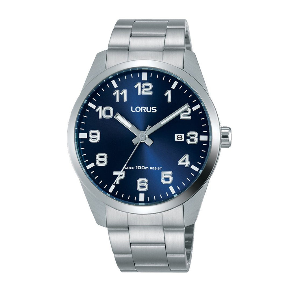 Lorus Men's Silver Blue Face Watch Model RH975JX-9 Watches Lorus