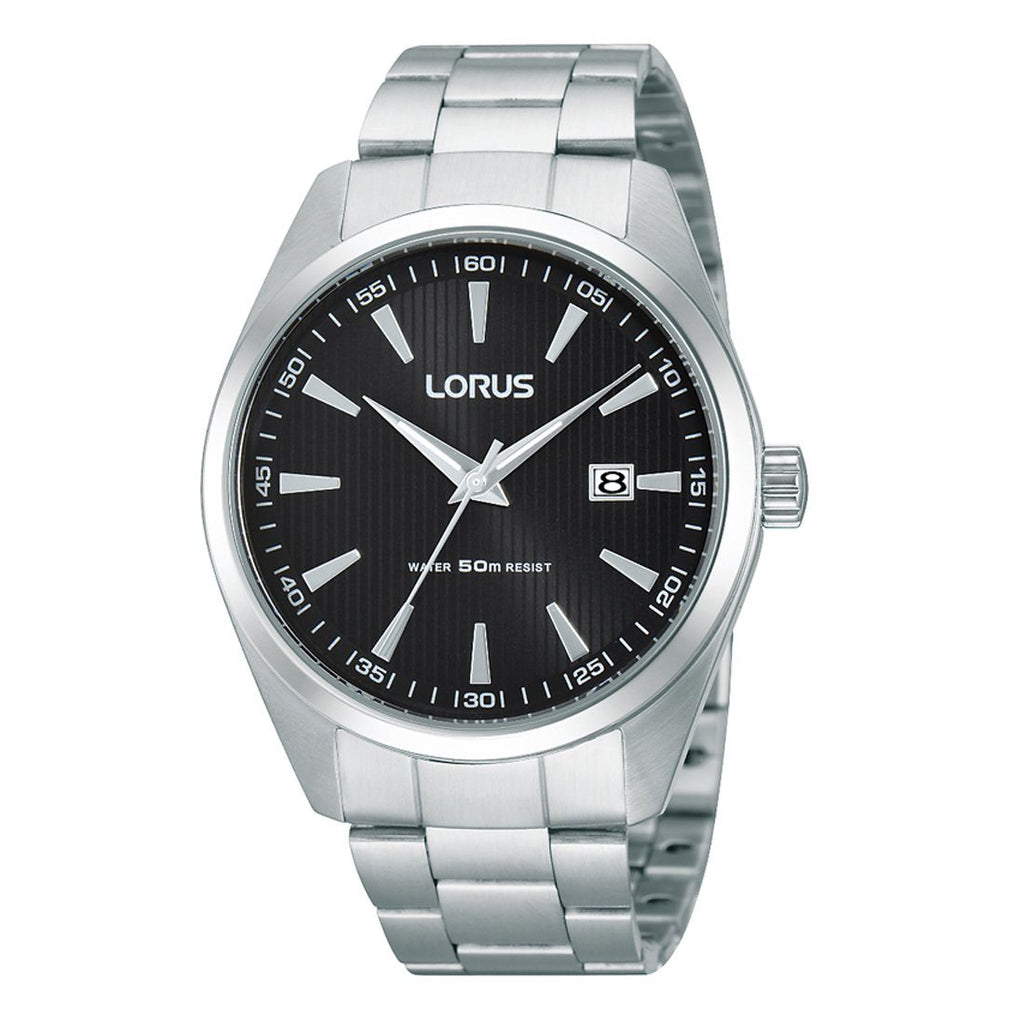 Lorus Mens Black Face Watch RH999CX-9 Watches Lorus