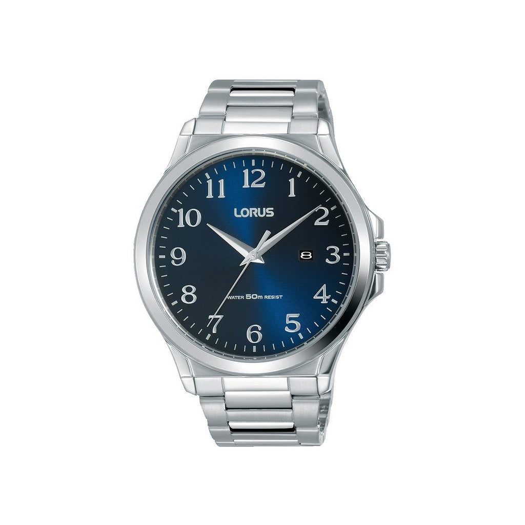 Lorus Men's Blue Face Silver Stainless Steel Watch Model RH971KX-9