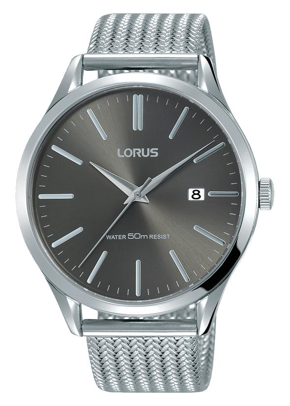 Lorus Mens Dark Grey & Silver Mesh Watch RS927DX9 Watches Lorus