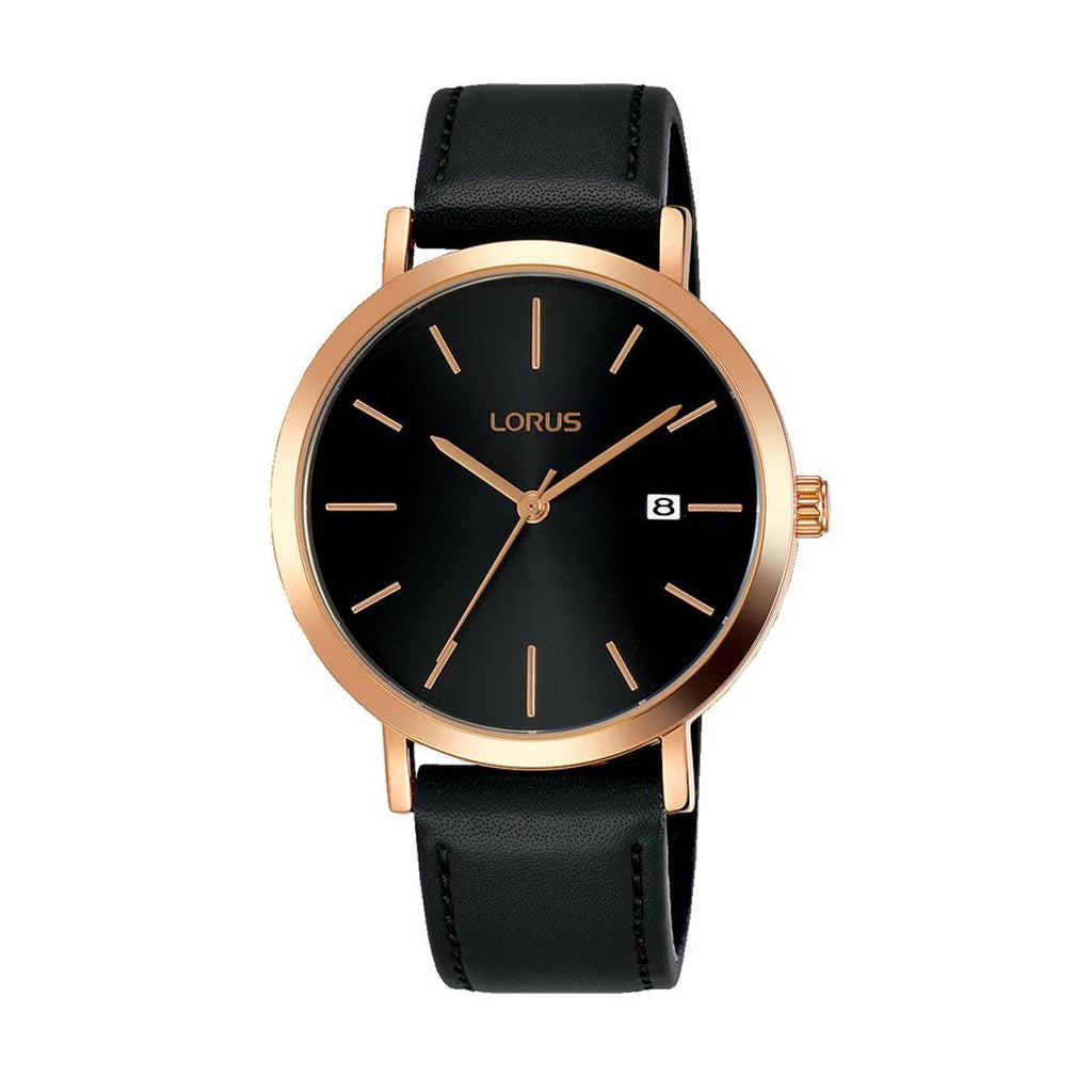 Lorus Men's Rose Gold Black Leather Watch RH934JX-9