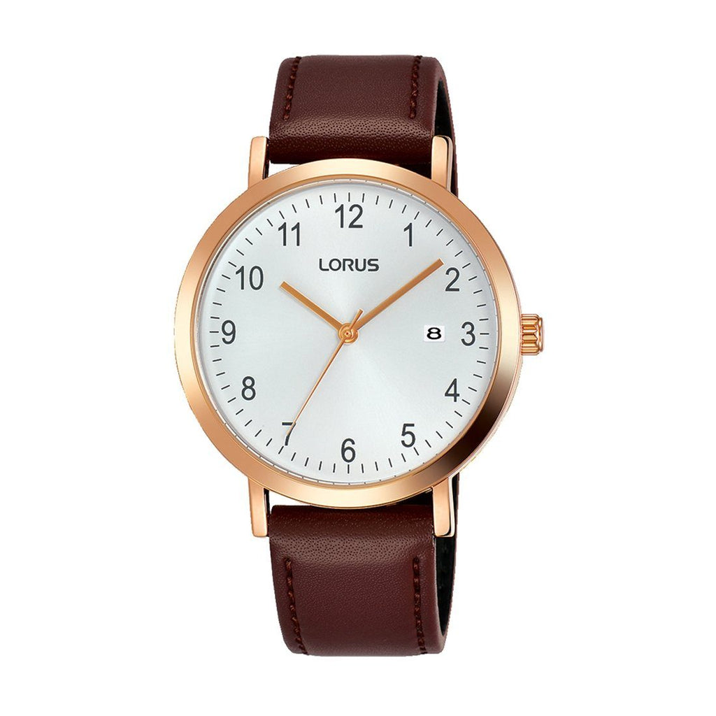 Lorus Men's Rose Gold Plated Brown Leather Watch RH940JX-9