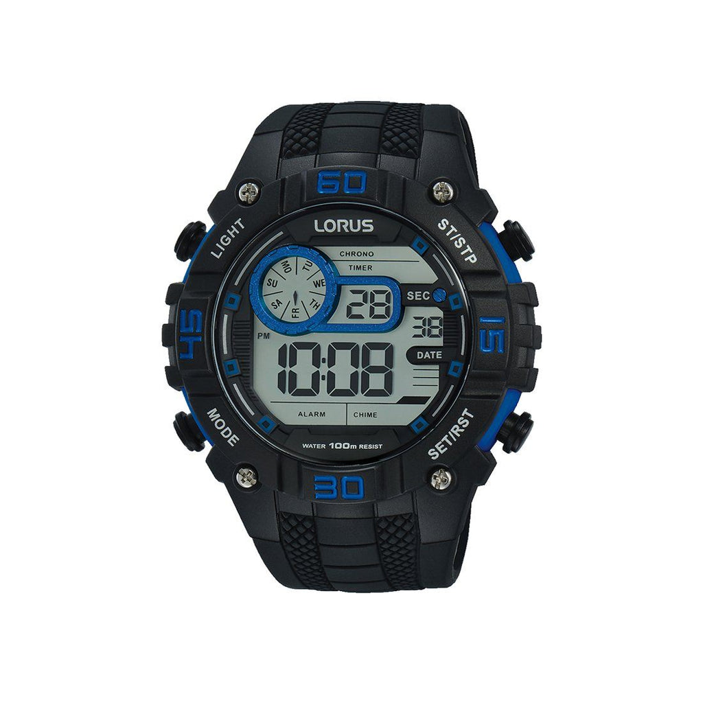 Lorus Men's Digital Blue & Black Watch R2353LX-9 Watches Lorus