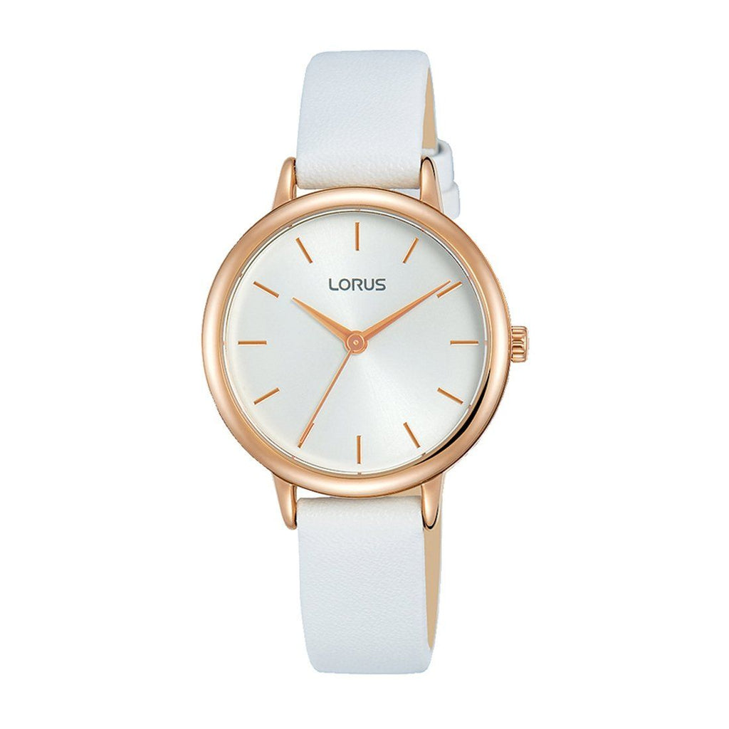 Lorus Quartz Ladies White Dial Leather Watch Model RG246NX-8 Watches Lorus