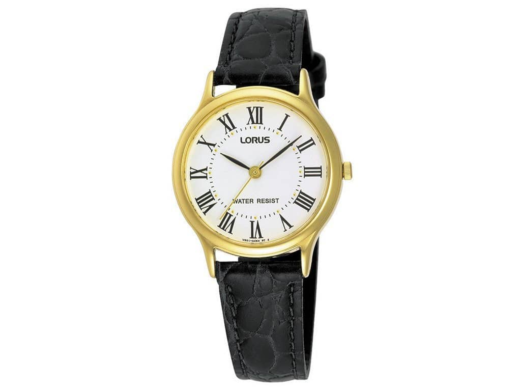 Lorus Ladies White Face Black Leather Strap